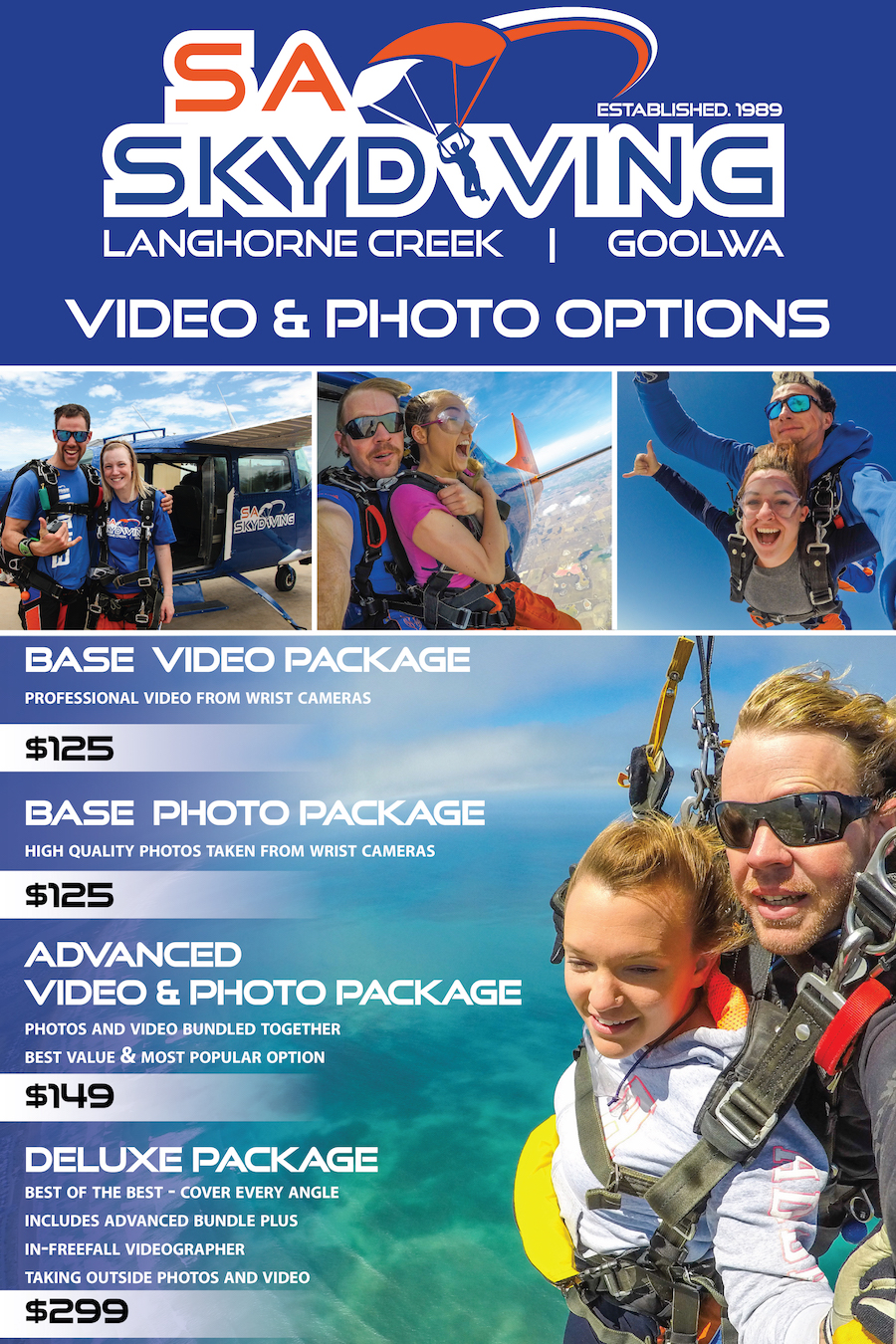 Tandem Skydiving Video Packages